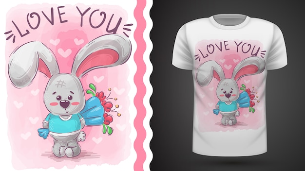 Rabbit with flower - idea for print t-shirt