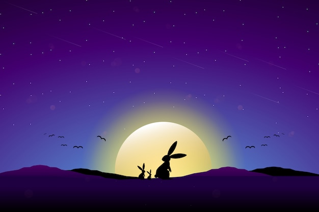 Rabbit with full moon starry night sky