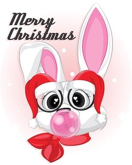 Rabbit with santa hat eyeglasses