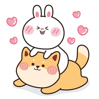 Rabbit with shiba inu dog with heart.