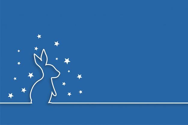 ラインスタイルのデザインで星とウサギ