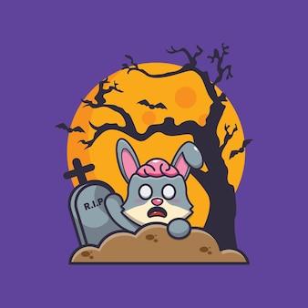 묘지의 토끼 좀비 상승 귀여운 할로윈 만화 일러스트 레이션