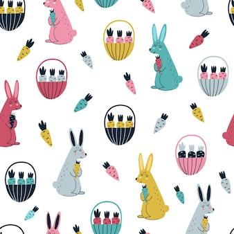スカンジナビアスタイルのイラストでウサギとニンジンのシームレスなパターン