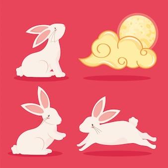 ウサギと中国の雲