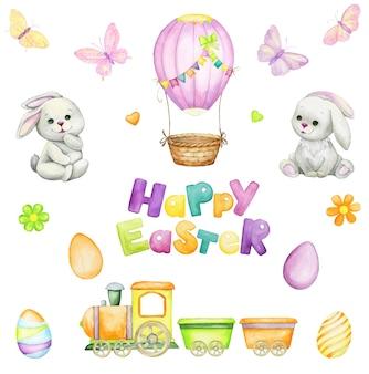 만화 스타일 디자인의 토끼와 부활절 달걀