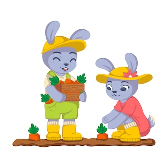 Rabbits are harvesting carrots in the garden. bunny work in the kailyard. farming, gardening. children illustration isolated on white background.