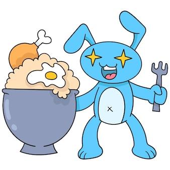 Кролики удивлены быть счастливы получить жареный рис с жареным яйцом, векторные иллюстрации. каракули изображение значка каваи.