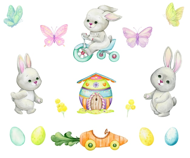 Rabbits, bicycle, easter eggs, butterflies, house, car, plant watercolor set of elements, in cartoon style, on an isolated background, for the holiday, easter.