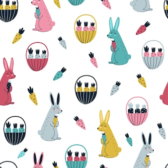 Rabbits and carrots seamless pattern in scandinavian style illustration