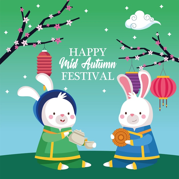 Rabbits cartoons in traditional cloth with tea pot cup mooncake and lanterns design, happy mid autumn harvest festival oriental chinese and celebration theme