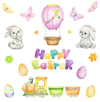 Rabbits and easter eggs in cartoon style design