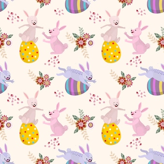 Rabbits and easter eggsvseamless pattern.