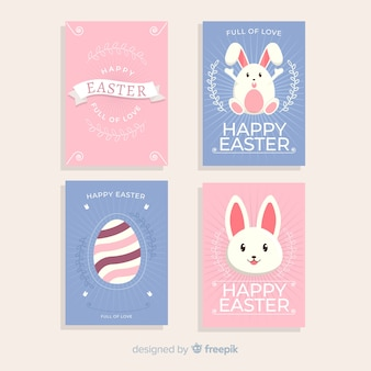 Rabbits and eggs easter card collection