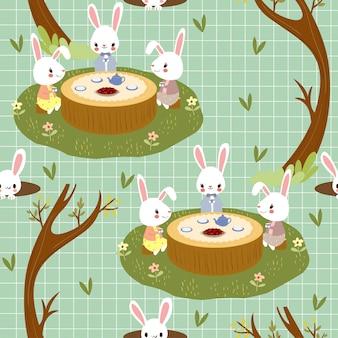 Rabbits enjoy tea party in woodland seamless pattern