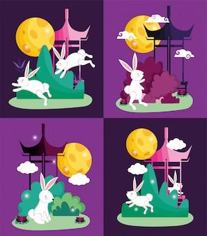 Rabbits happy moon festival vector illustration