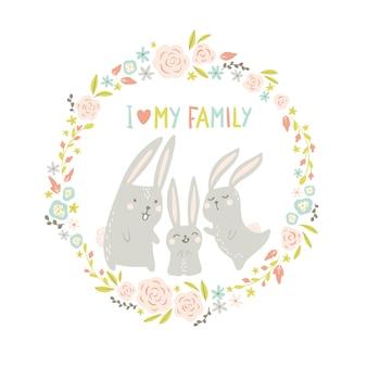 둥근 꽃 프레임에 토끼입니다. 손으로 그린 스칸디나비아 스타일의 귀여운 동물.