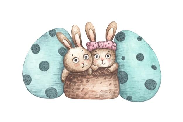Кролики в корзине с пасхальными яйцами. акварельная иллюстрация.