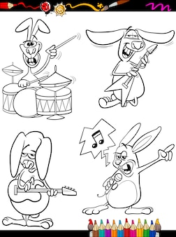 토끼 음악가 설정 만화 색칠 공부