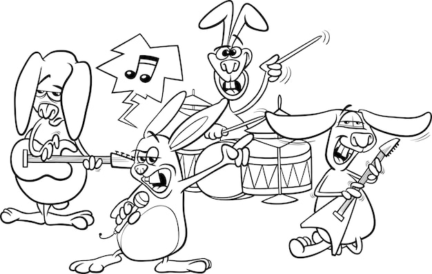 토끼 록 음악 밴드 색칠하기
