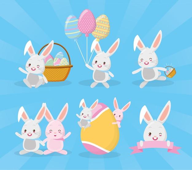 Rabbits set wishing happy easter