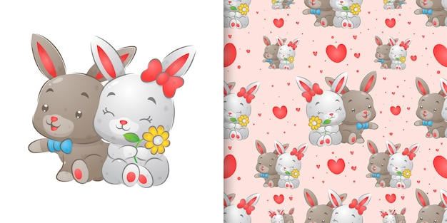 Rabbits sitting and loving each other with the happy face pattern set illustration