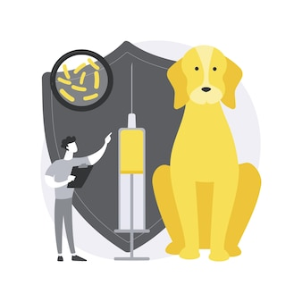 광견병과 애완 동물 추상적 인 개념