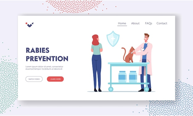 Rabies prevention landing page template. cat sit on table of veterinary clinic. veterinarian doctor character put injection to animal in medical cabinet, pet health. cartoon people vector illustration