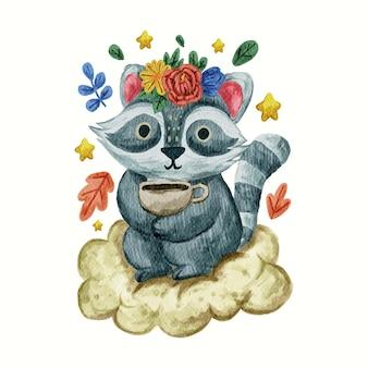 アライグマ動物かわいいデザインイラスト水彩で