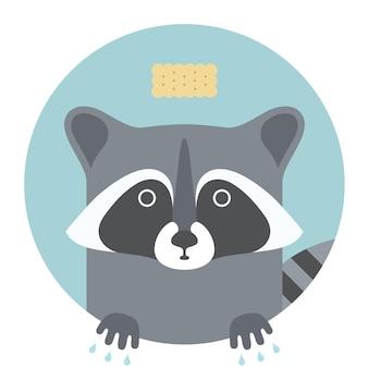 Raccoon. animal portrait in flat graphics. vector illustration