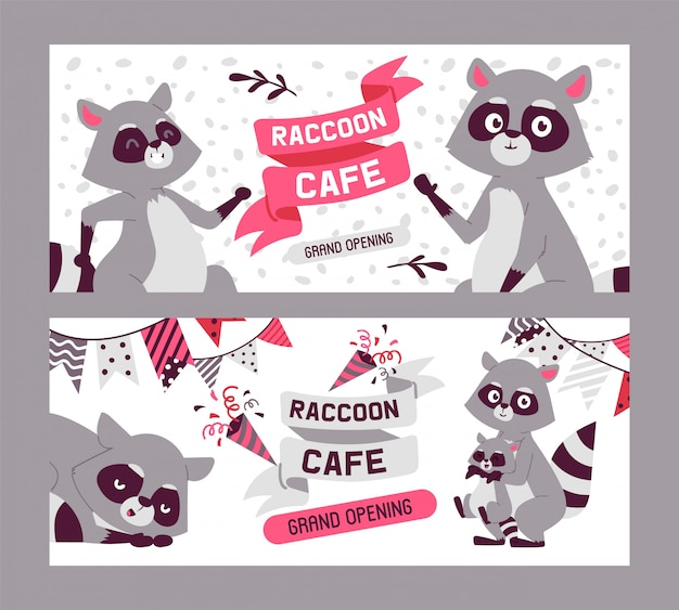 Raccoon cafe, grand opening set of banners. family of cute cartoon animals. creature with big eyes