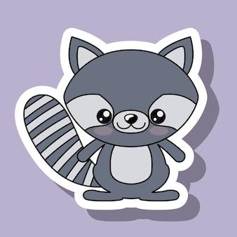 Raccoon character kawaii style