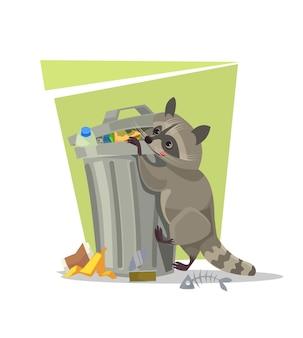 Raccoon character looking for food in trash can flat cartoon illustration