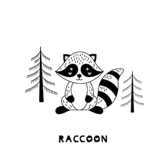 Raccoon for children in scandinavian style.