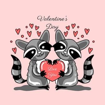 Пара енотов любовь день святого валентина