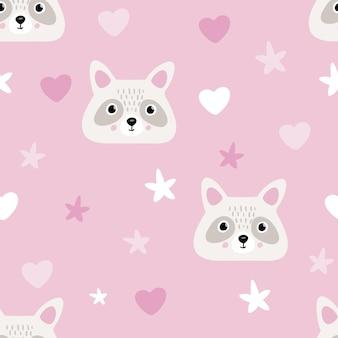 Raccoon cute seamless pattern, cartoon background, vector illustration