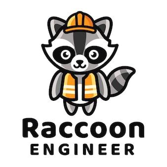 Raccoon engineer logo template