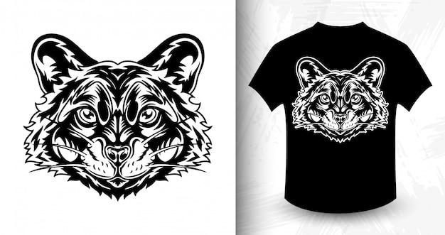 Raccoon face, idea for t-shirt in monochrome style