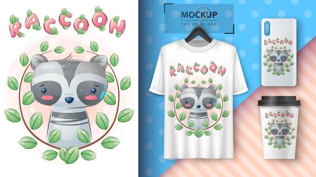Raccoon in flower  poster and merchandising