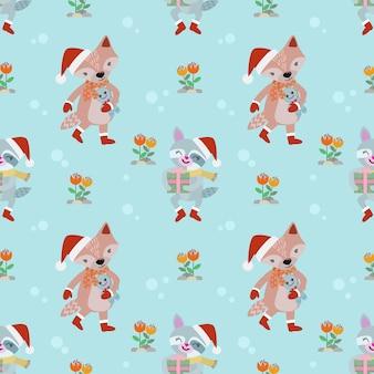 Raccoon and fox seamless pattern.