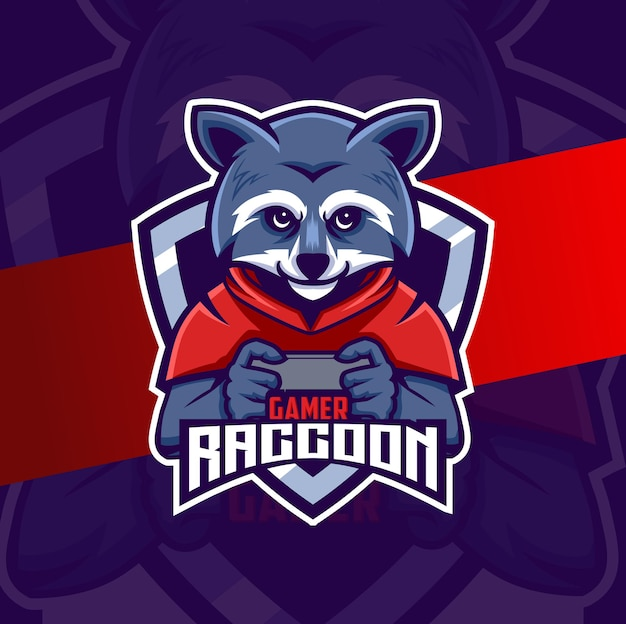 Raccoon gamer character esport mascot logo design
