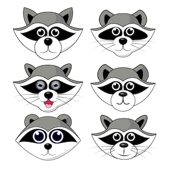 Raccoon gargle, head, facial expression and emotion illustration on white background in vector set