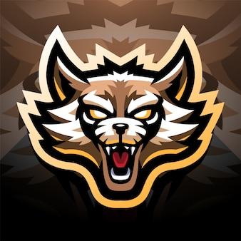 Дизайн логотипа талисмана киберспорта с головой енота