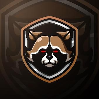 Raccoon head mascot esport illustration