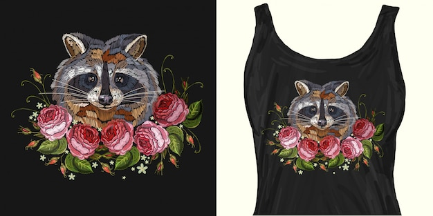 Raccoon head and roses embroidery