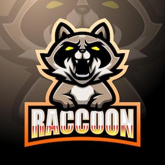 Енот талисман киберспорт дизайн логотипа