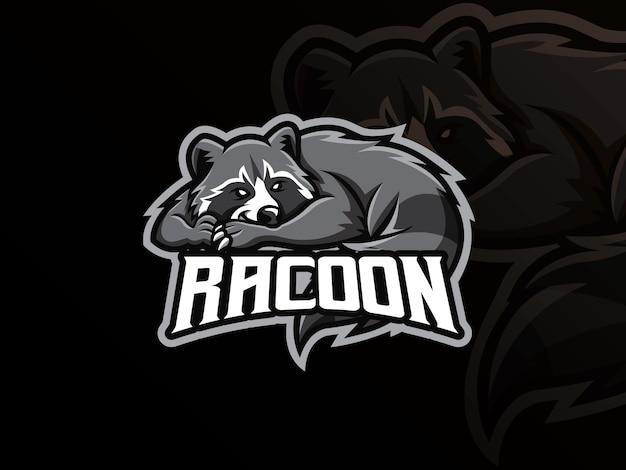 Raccoon mascot sport logo