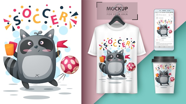 Raccoon play football, soccer illustration