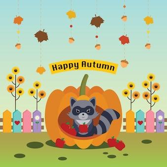 Raccoon in pumpkin house