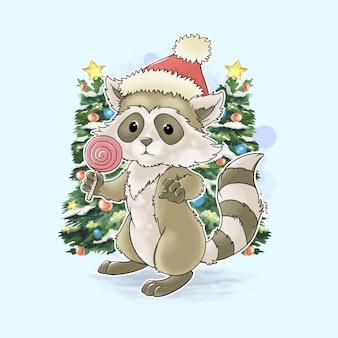 Raccoon santa claus on christmas watercolor