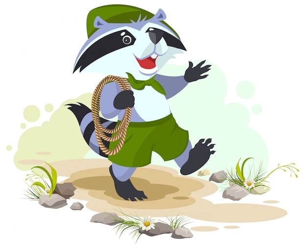 Raccoon scout carries rope. animal scout with rope illustration